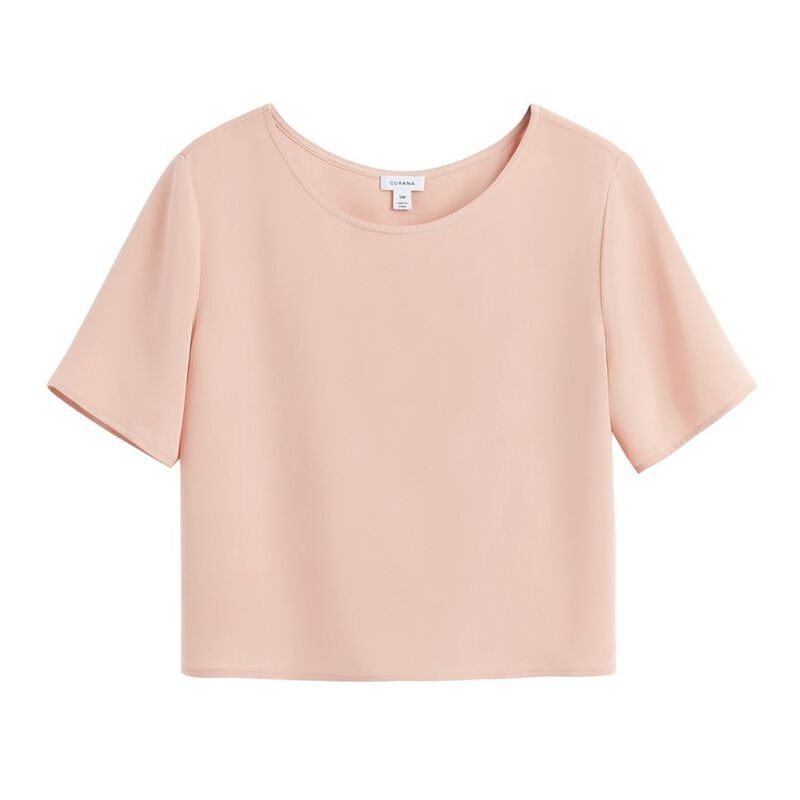 Silk Cropped Tee in Soft Rose