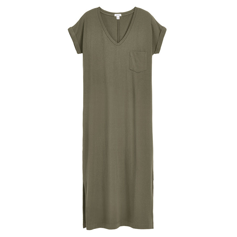 V-Neck Midi Dress in Olive