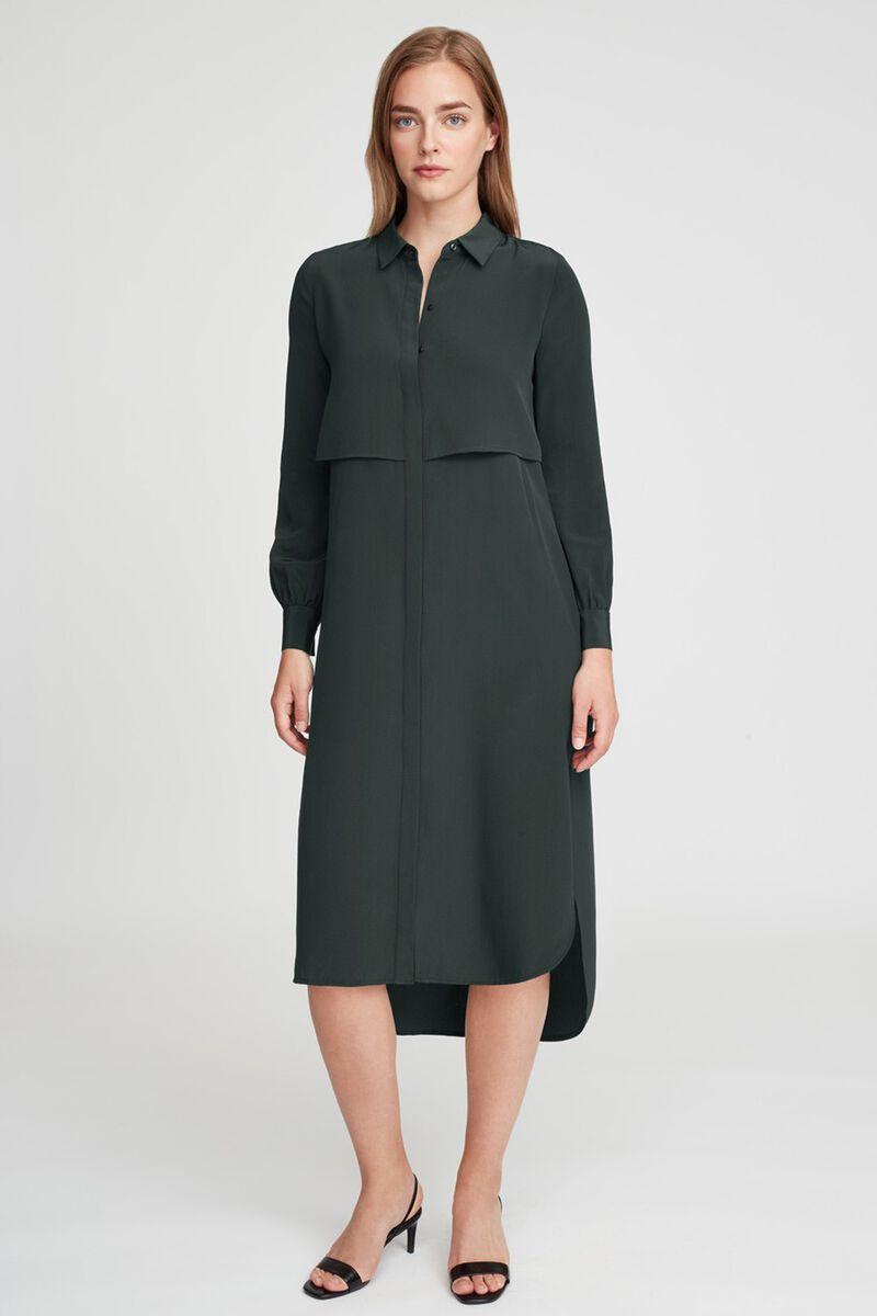 Silk High-Low Shirt Dress in Forest