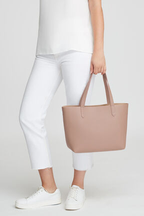Small Structured Leather Tote, Soft Rose/Cappuccino, plp