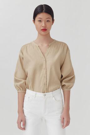 Linen Button Front Blouse, Natural, plp
