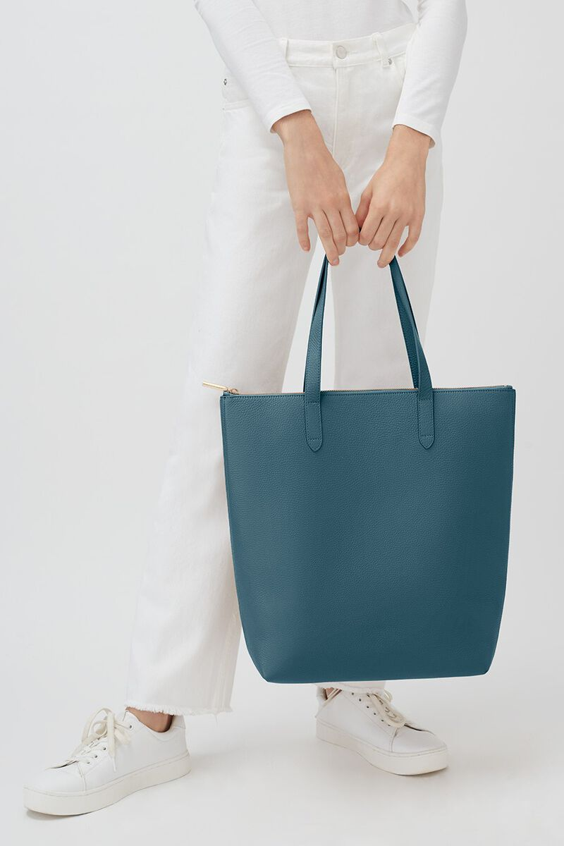 Tall Structured Leather Zipper Tote in Deep Ocean