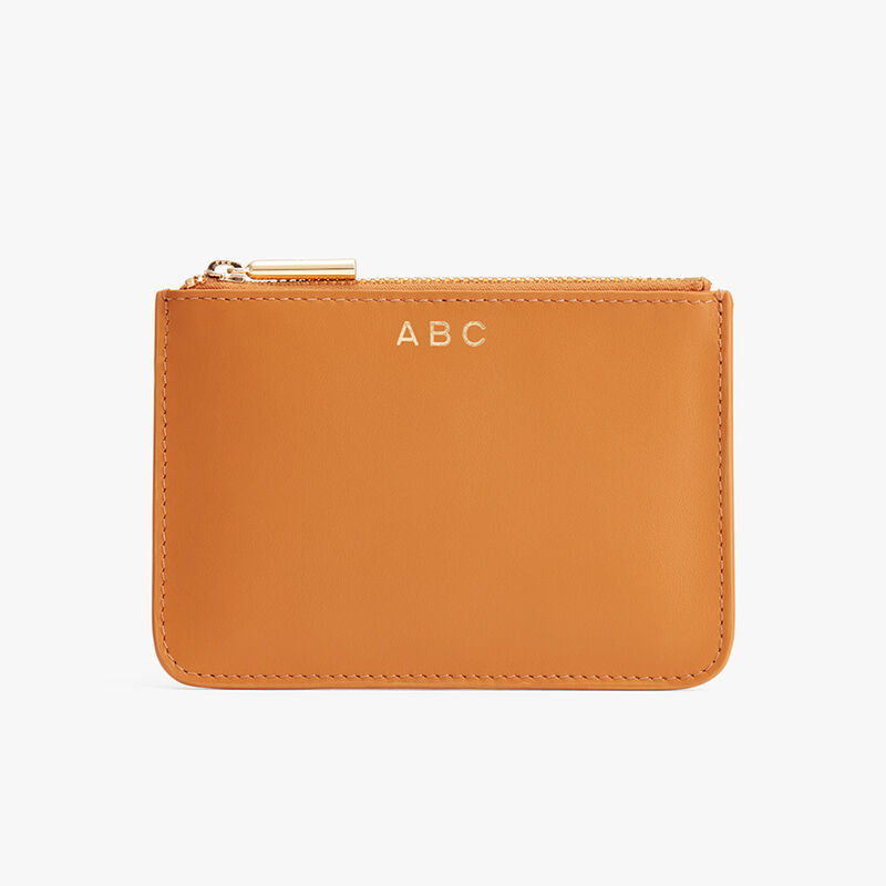 Slim Leather Pouch in Mango