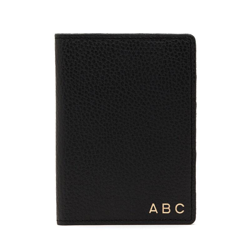 Slim Leather Passport Case in Black Pebbled