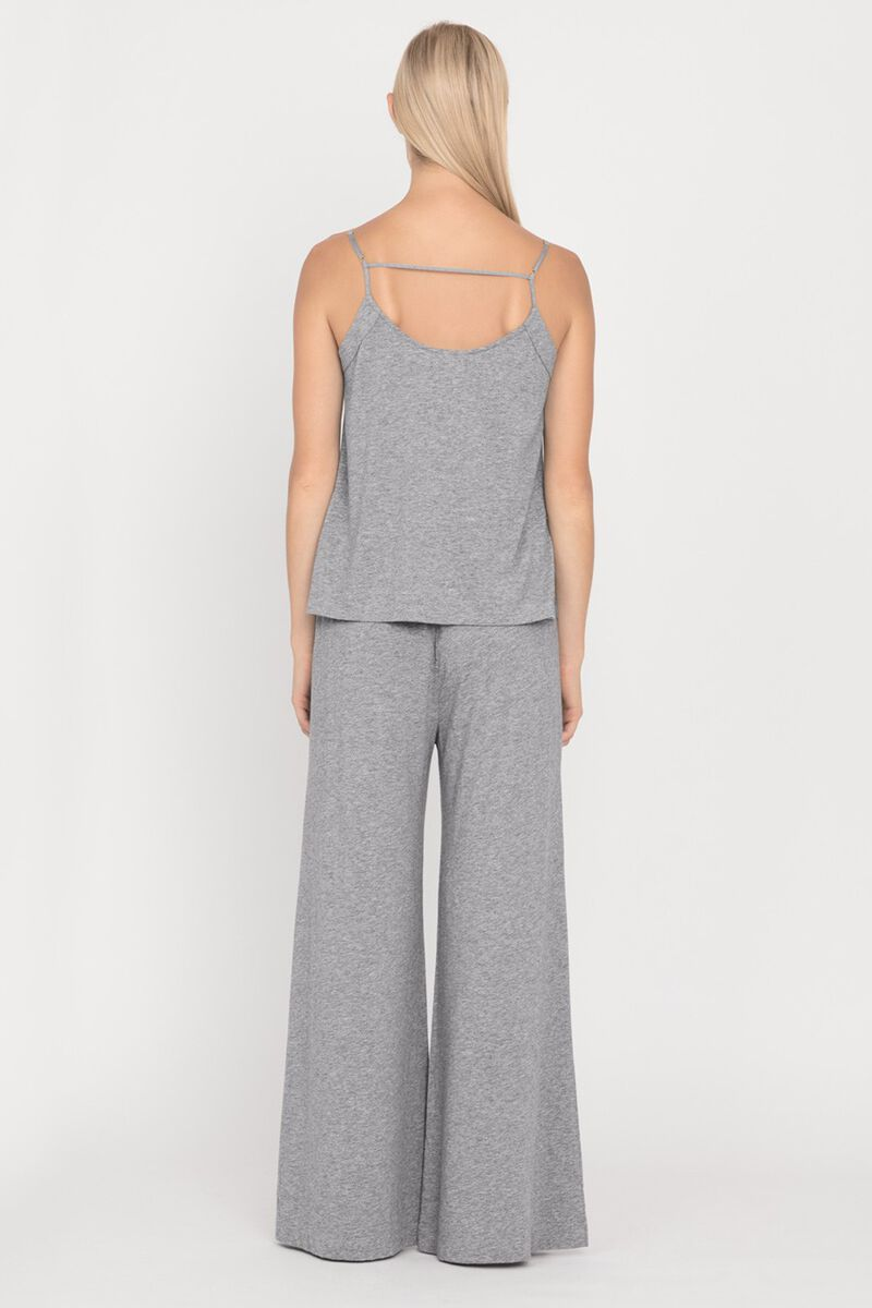Pima Wide-Leg Pant in Heather Grey