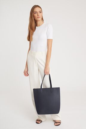 Tall Structured Leather Zipper Tote, Navy, plp