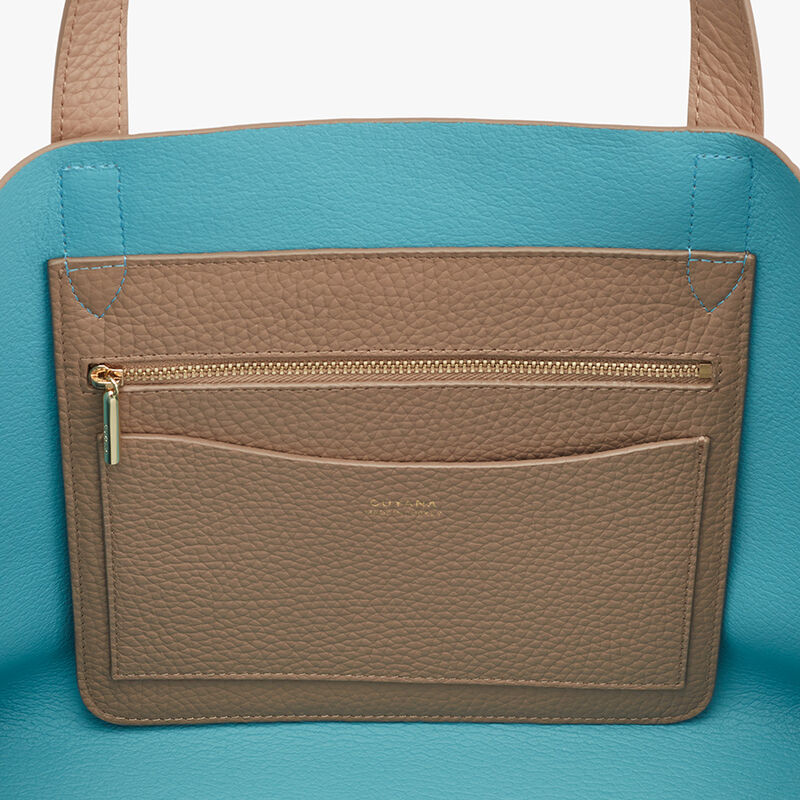 Small Structured Leather Tote in Cappuccino/Blue
