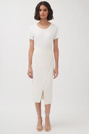 Cotton Twill Paneled Skirt, Ecru, plp
