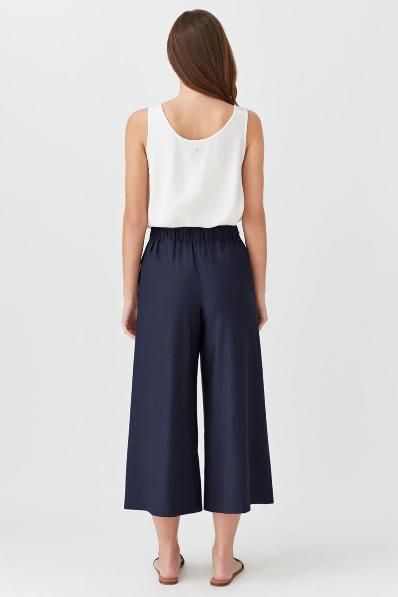 Linen Wide-Leg Cropped Pant in Navy