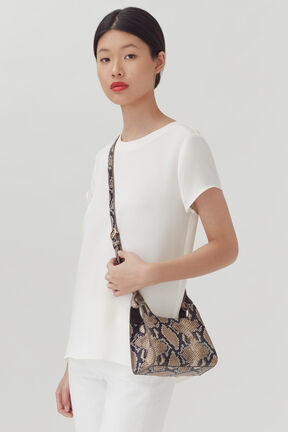 Mini Double Loop Bag, Natural Snake, plp
