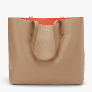 Classic Structured Leather Tote, Cappuccino/Orange (Limited Edition), mono-gallery