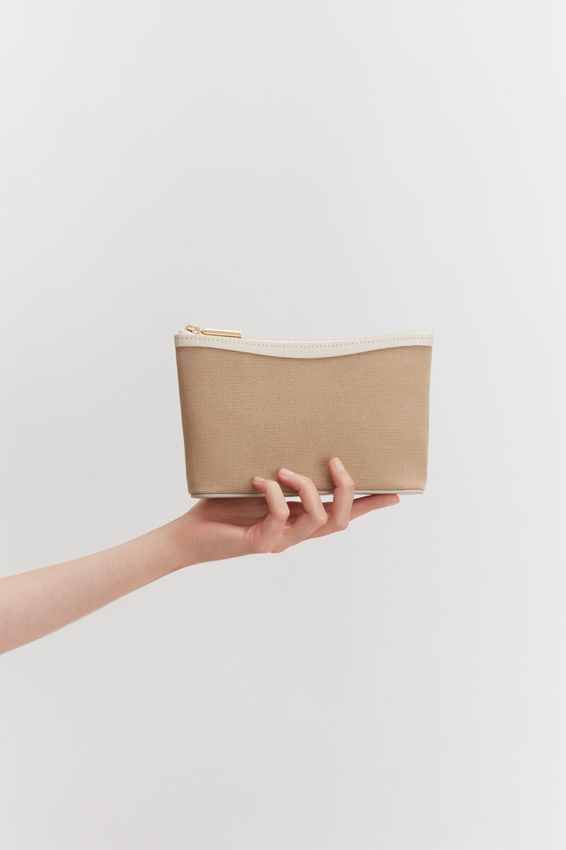 Mini Canvas Zipper Pouch in Sand/Ecru