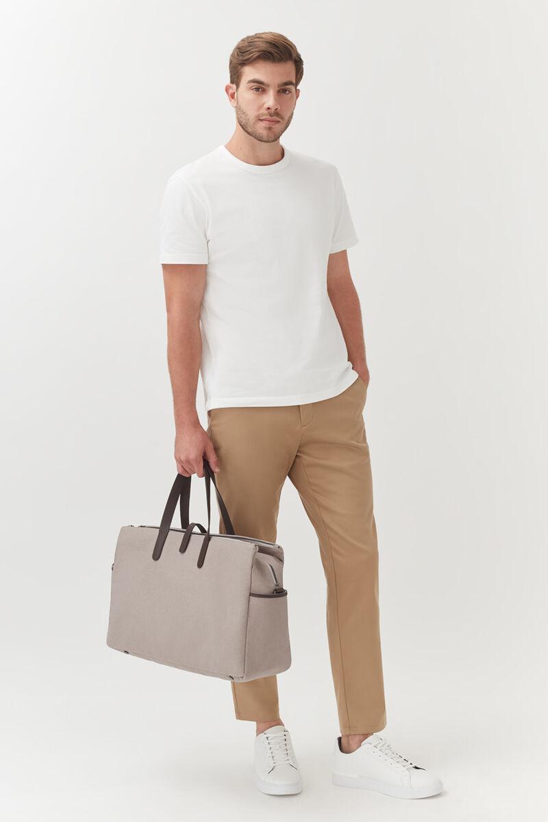 Men's Triple Zipper Weekender in Soft Grey/Dark Brown