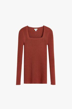 Cotton Cashmere Square Neck Rib Sweater