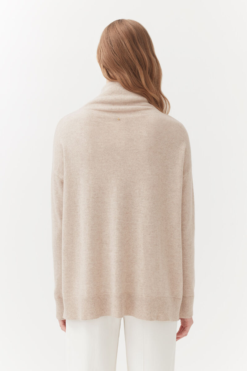 Cashmere Mock Neck Sweater in Beige