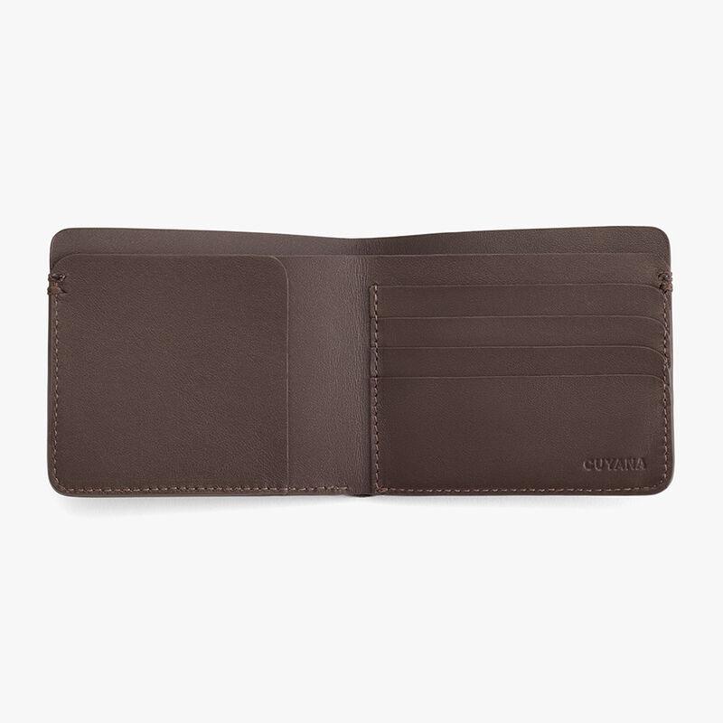 Men's Leather Folding Wallet in Dark Brown