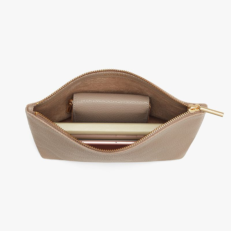 Small Leather Zipper Pouch in Stone