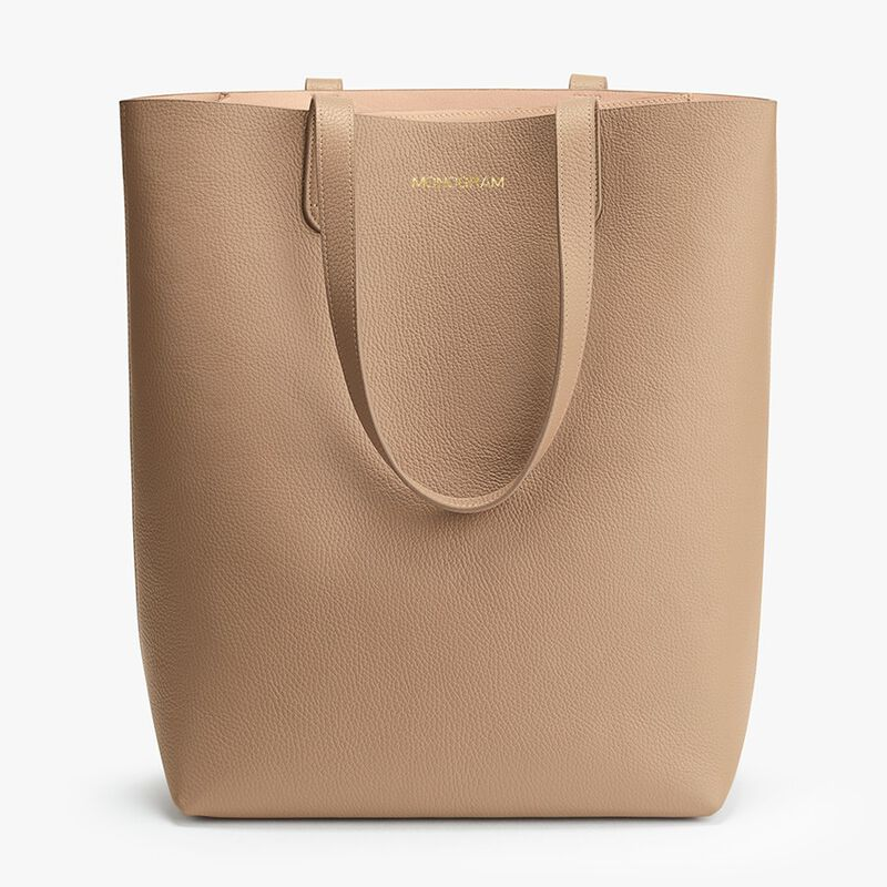 Tall Structured Leather Tote in Cappuccino