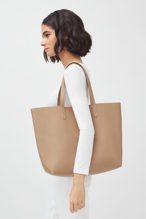 Classic Structured Leather Tote, Cappuccino/Orange (Limited Edition), plp