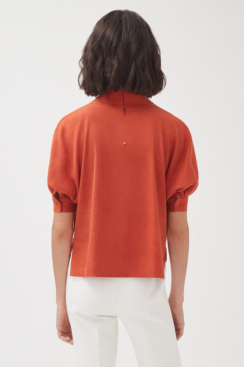 Linen Dolman Sleeve Top in Blood Orange