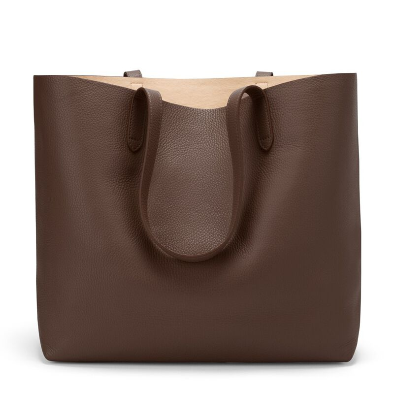 Classic Structured Leather Tote in Chocolate/Blush