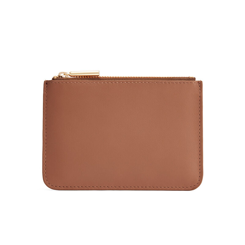 Slim Leather Pouch in Caramel
