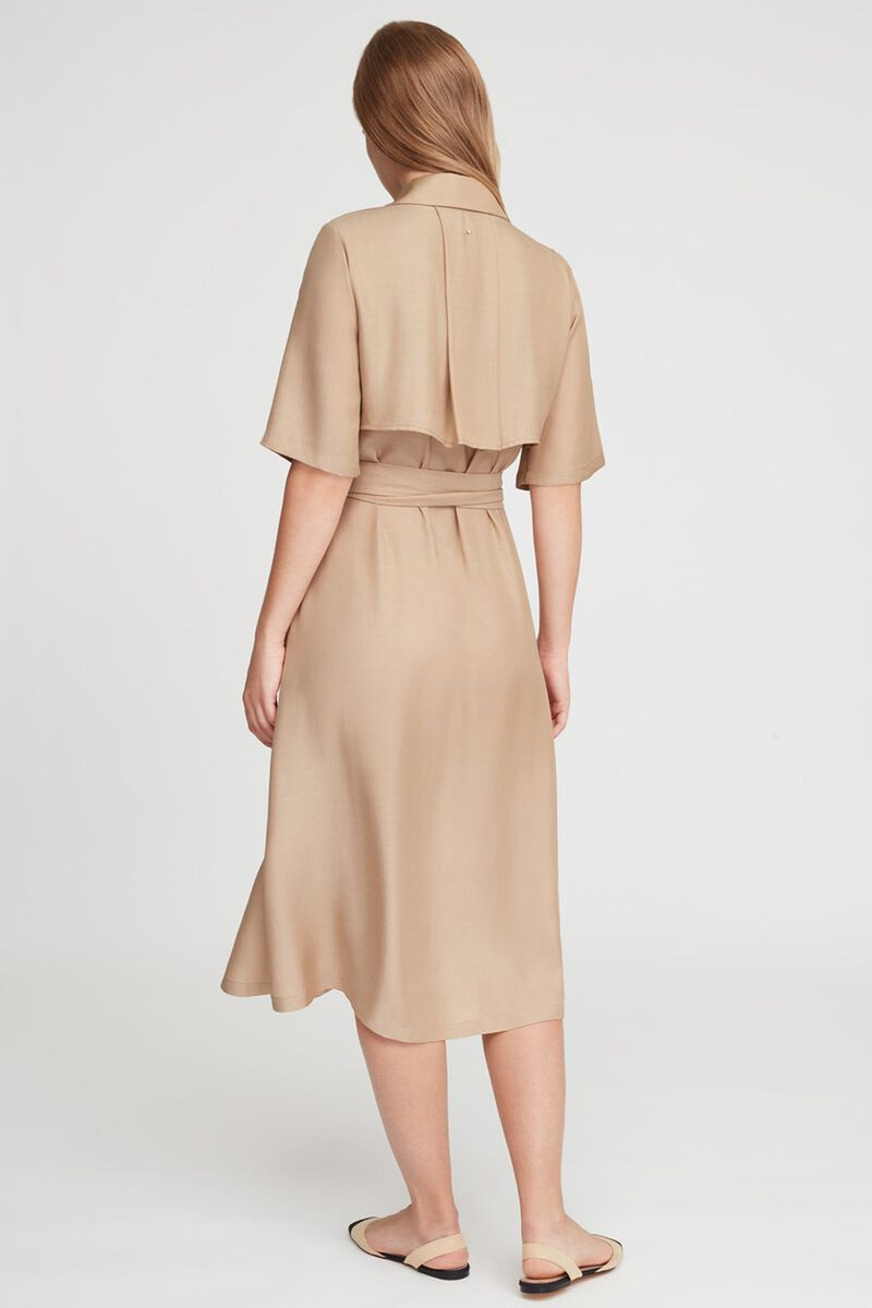 Trench Wrap Dress in Sand