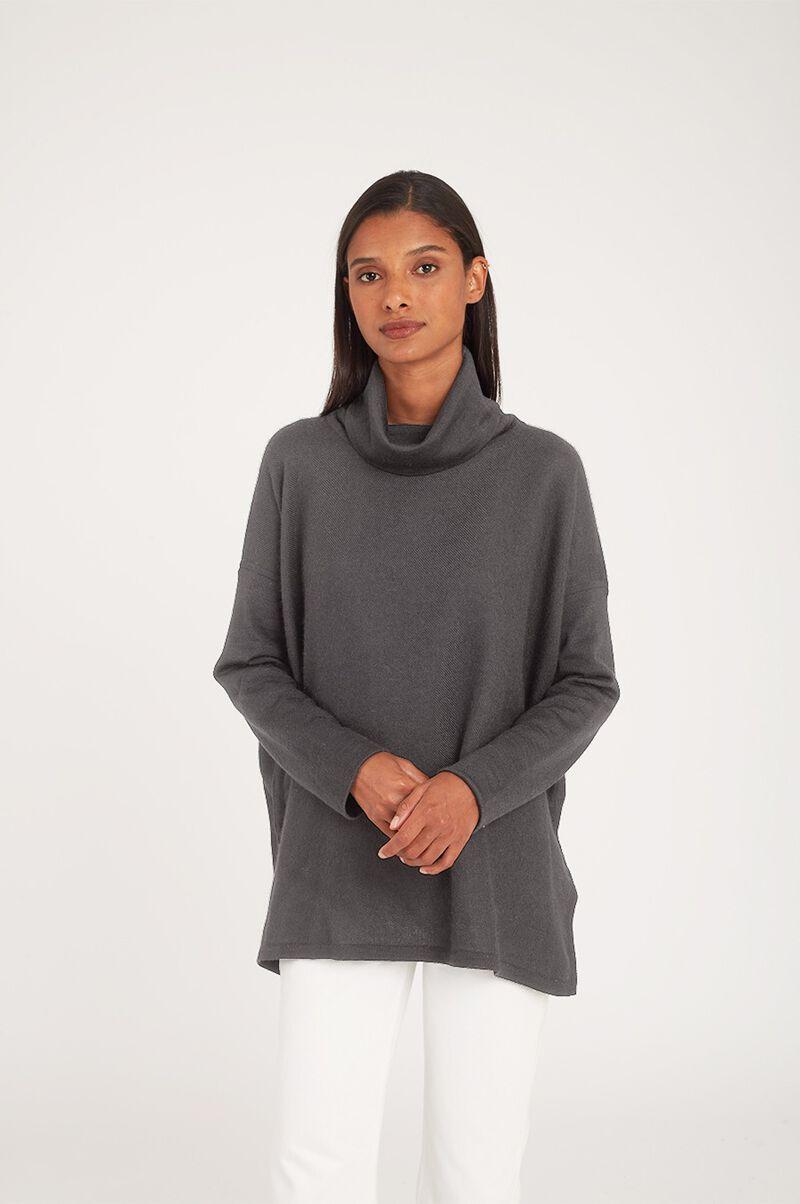 Baby Alpaca Oversized Turtleneck Sweater in Charcoal