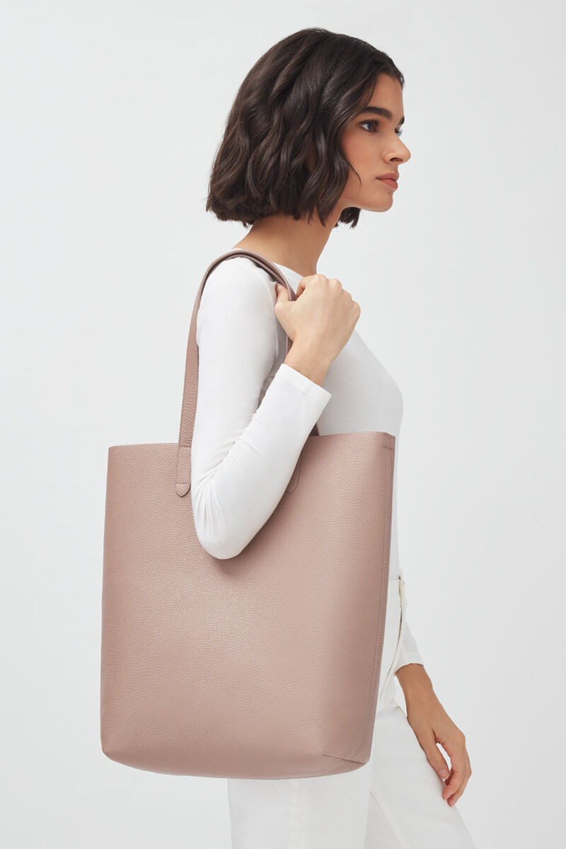 Tall Structured Leather Tote in Soft Rose