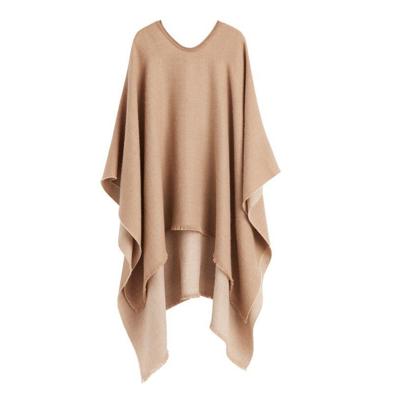 Alpaca Blanket Scarf in Camel