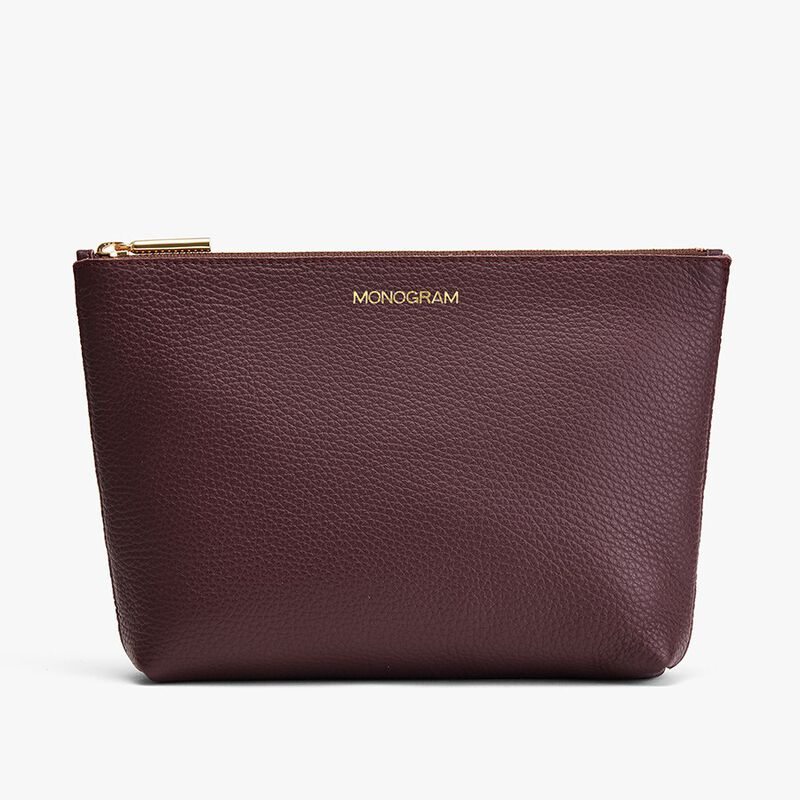 Small Leather Zipper Pouch in Burgundy