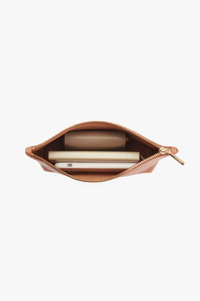Small Leather Zipper Pouch in Caramel