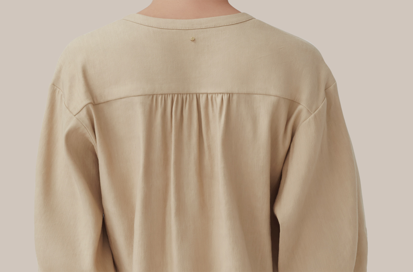 Detailed Image of back of Linen Button Front Blouse