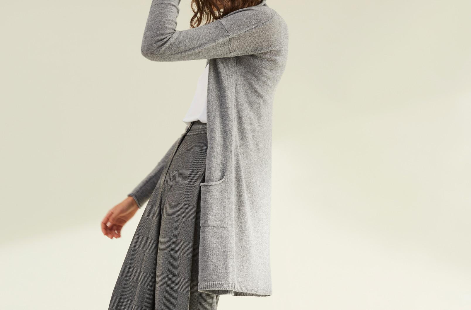 Model wearing Cuyana Open Cashmere Cardigan
