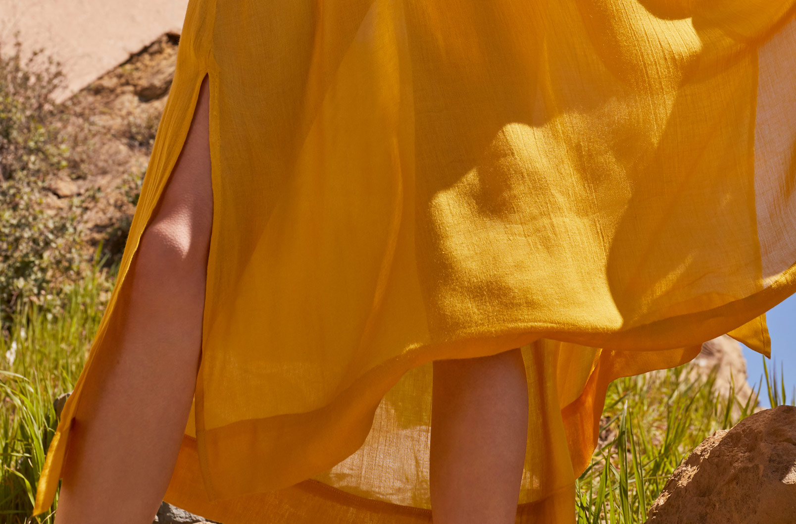 Detail shot of back of Gathered-Neck Maxi Coverup
