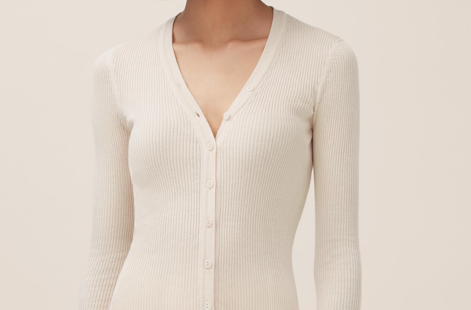 Model wearing Cotton Cashmere Rib Cardigan