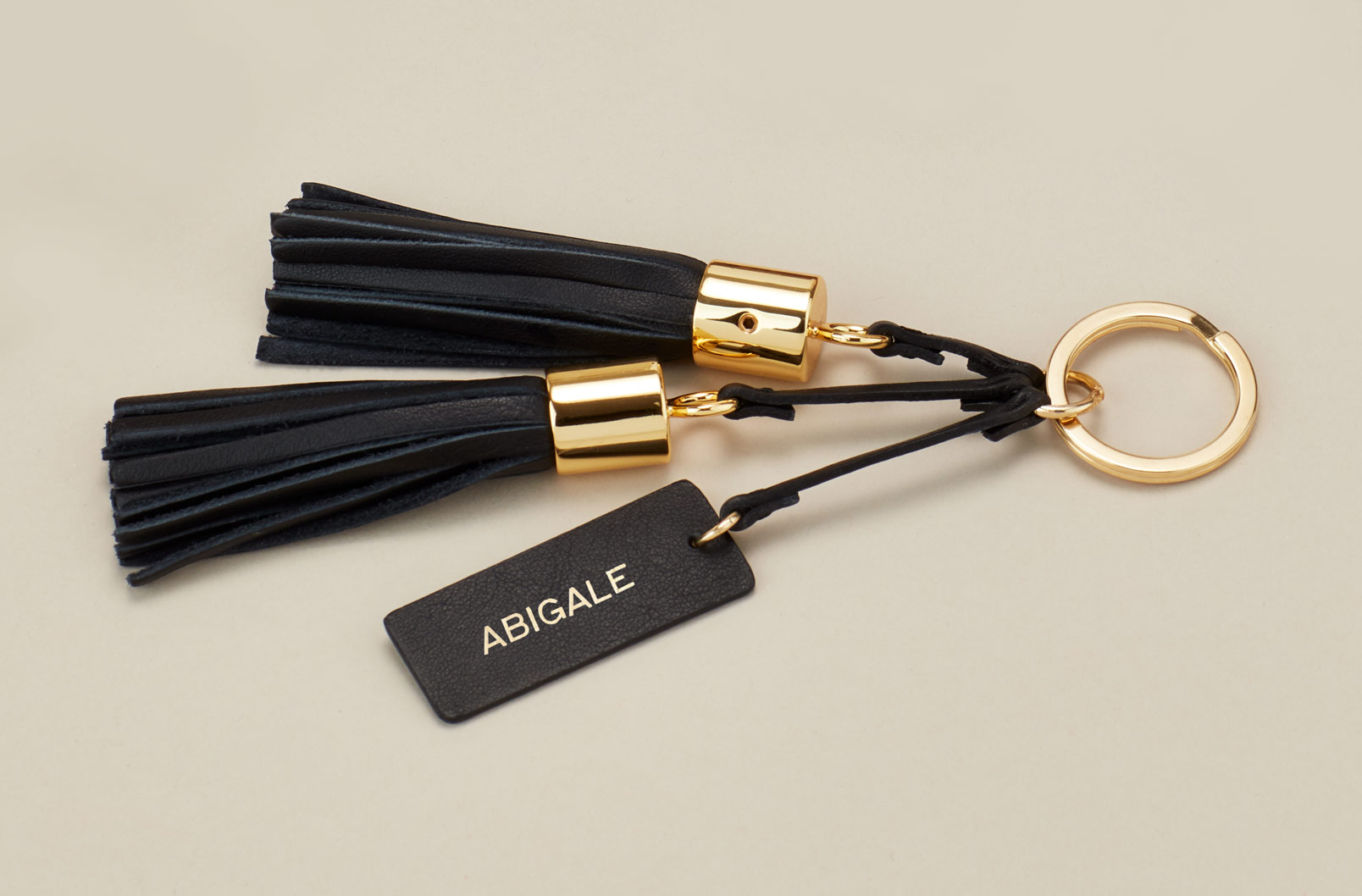Cuyana Leather Tassel Keychain with Monogramming