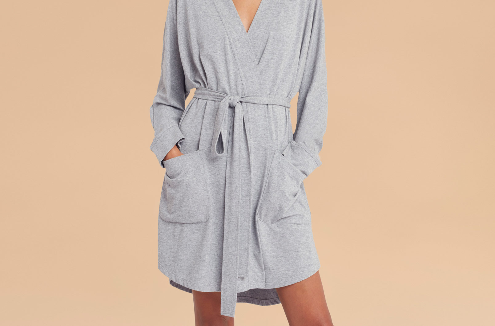 Model wearing Pima Modal Robe