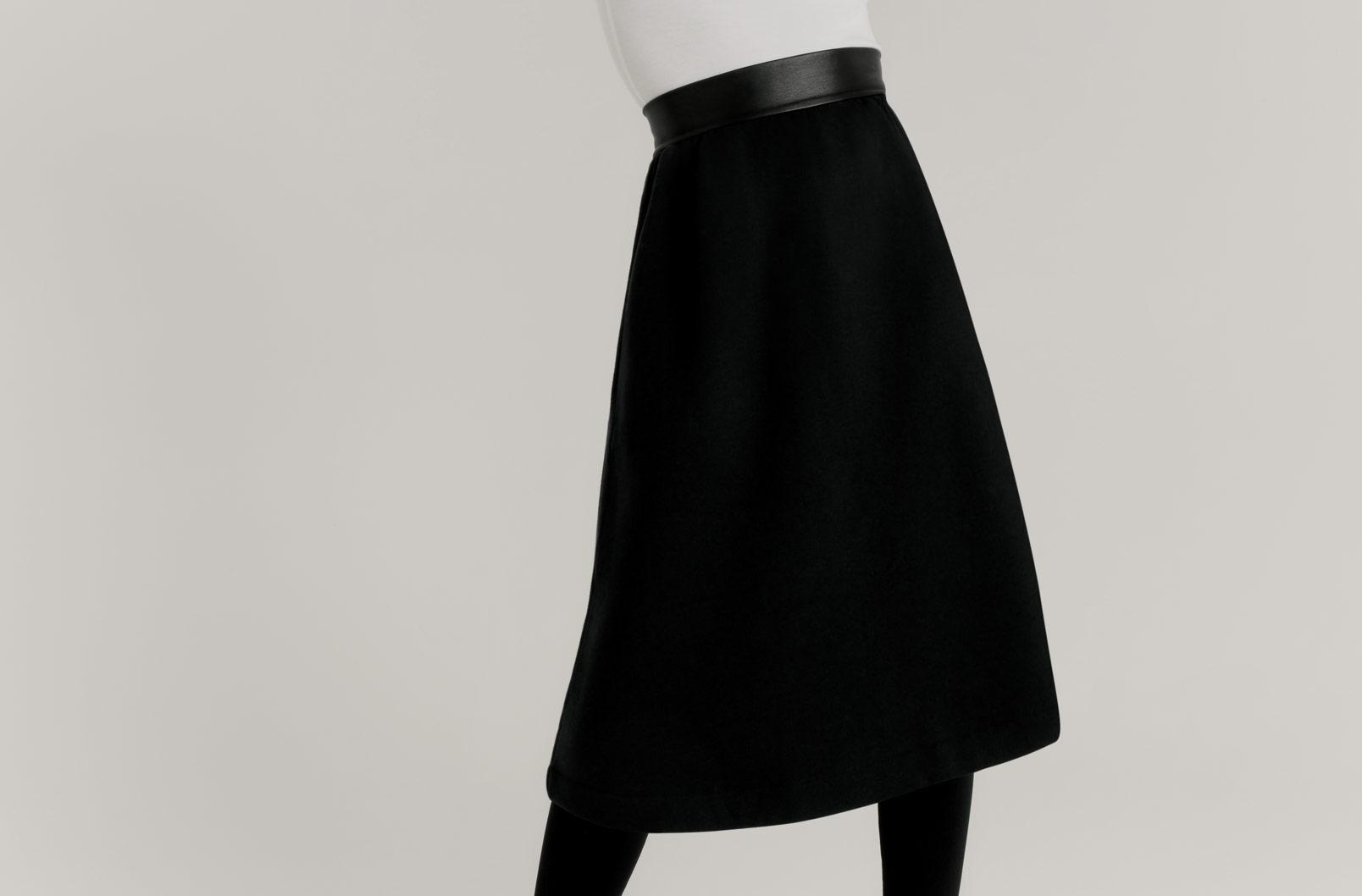 Detail shot of Fleece Midi Skirt showing mid-calf hem