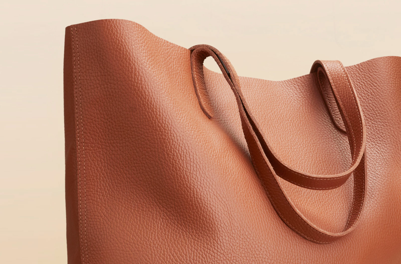 Cuyana Classic Leather Tote in Caramel showing pebbled leather detail