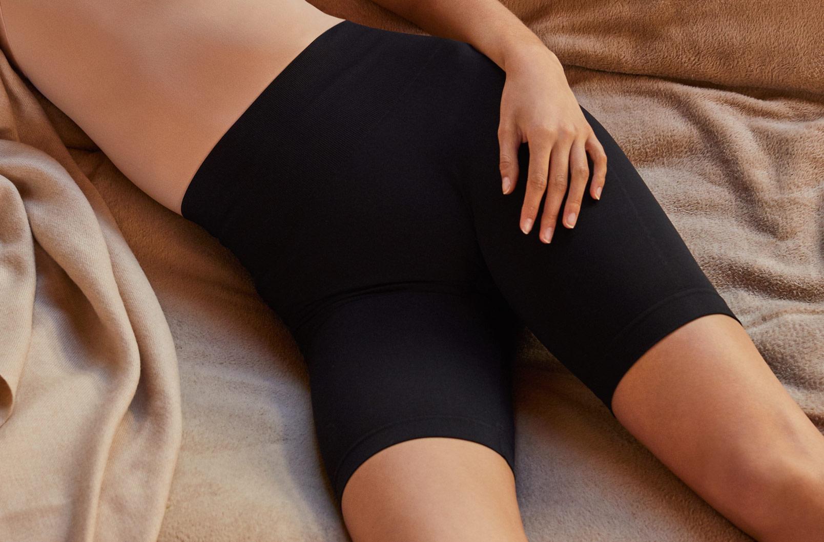 Model wearing Seamless Long Shorts