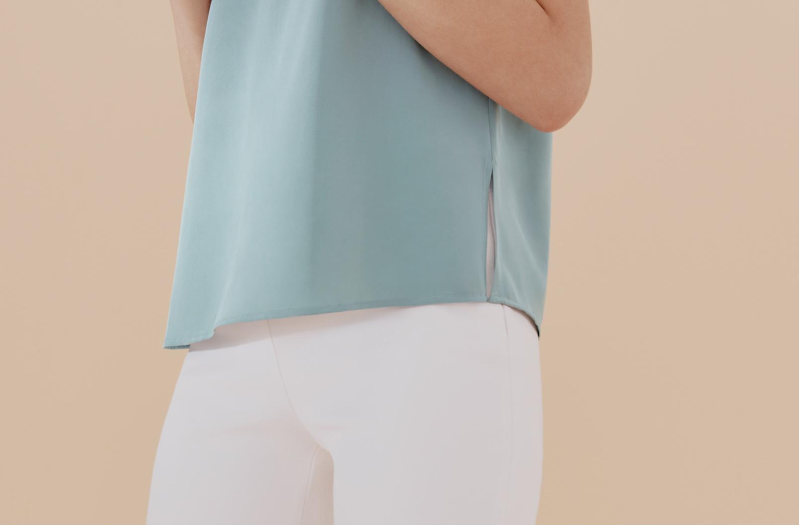Detail image of side slits on Sea Foam Silk Cami