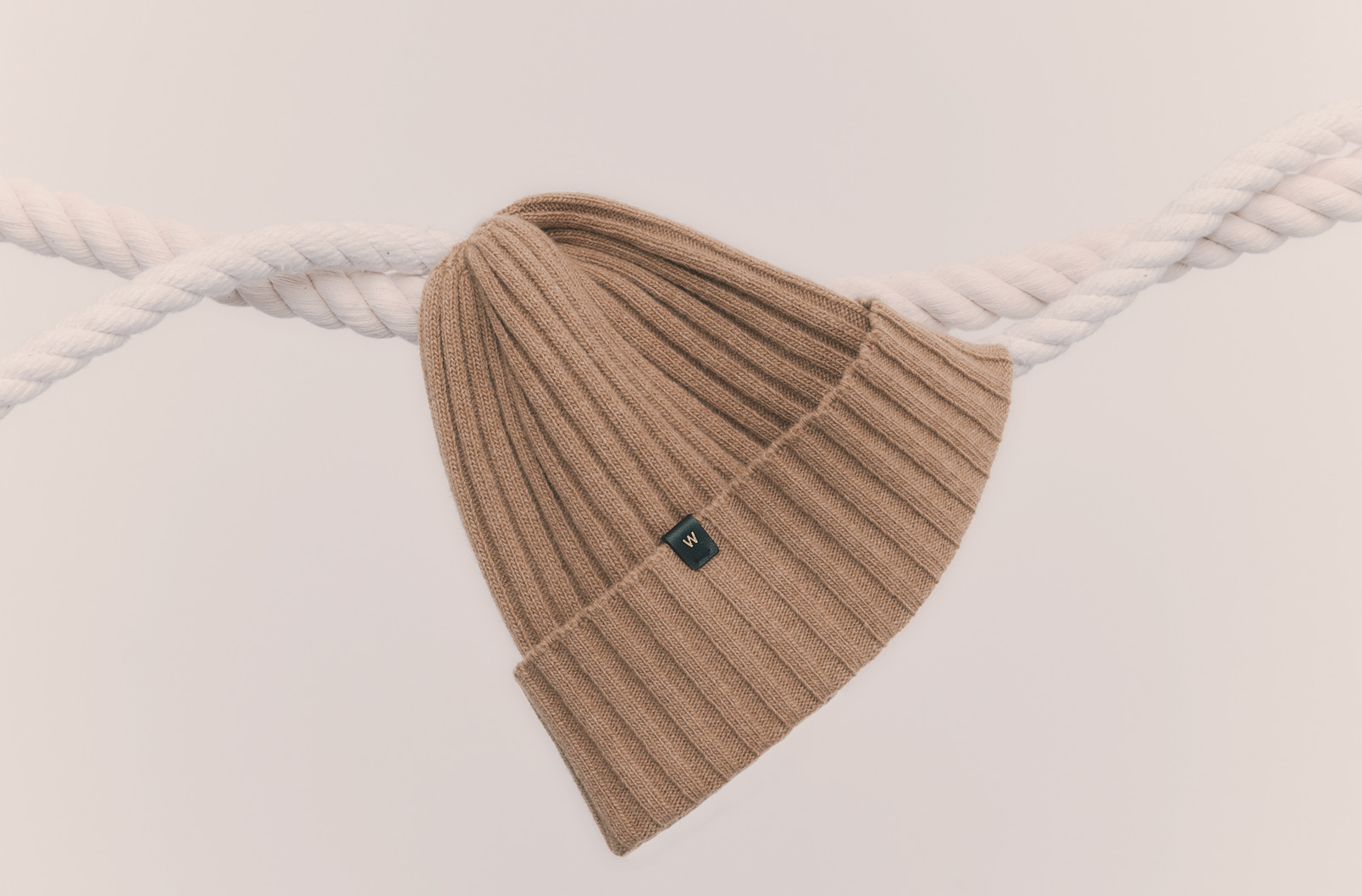 Monogramming detail on beanie