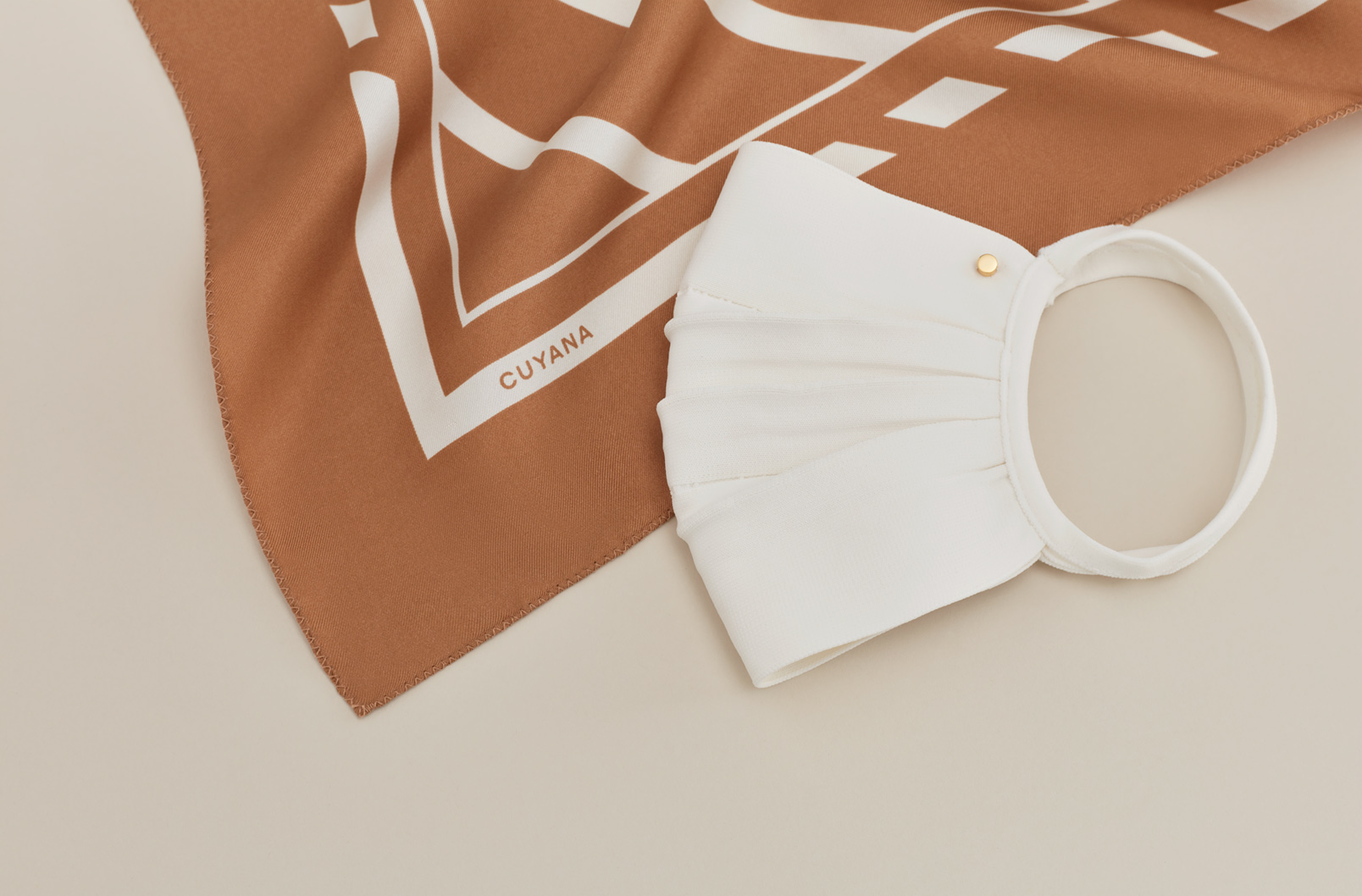 Washable Silk Bandana in Camel with Face Mask