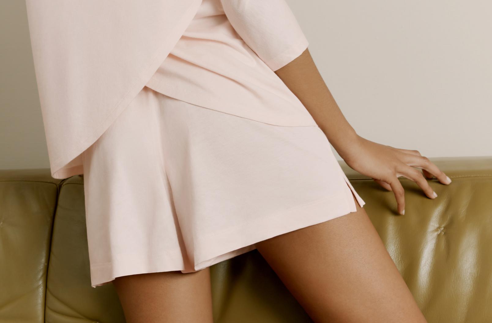 Model wearing Pima Drape-Back Top with Pima Short