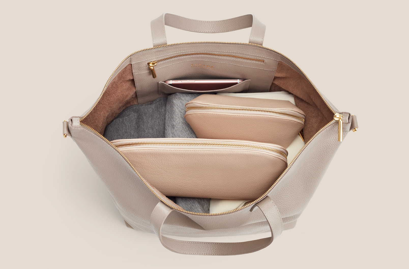 Oversized Carryall interior shot showing sweater and other items inside