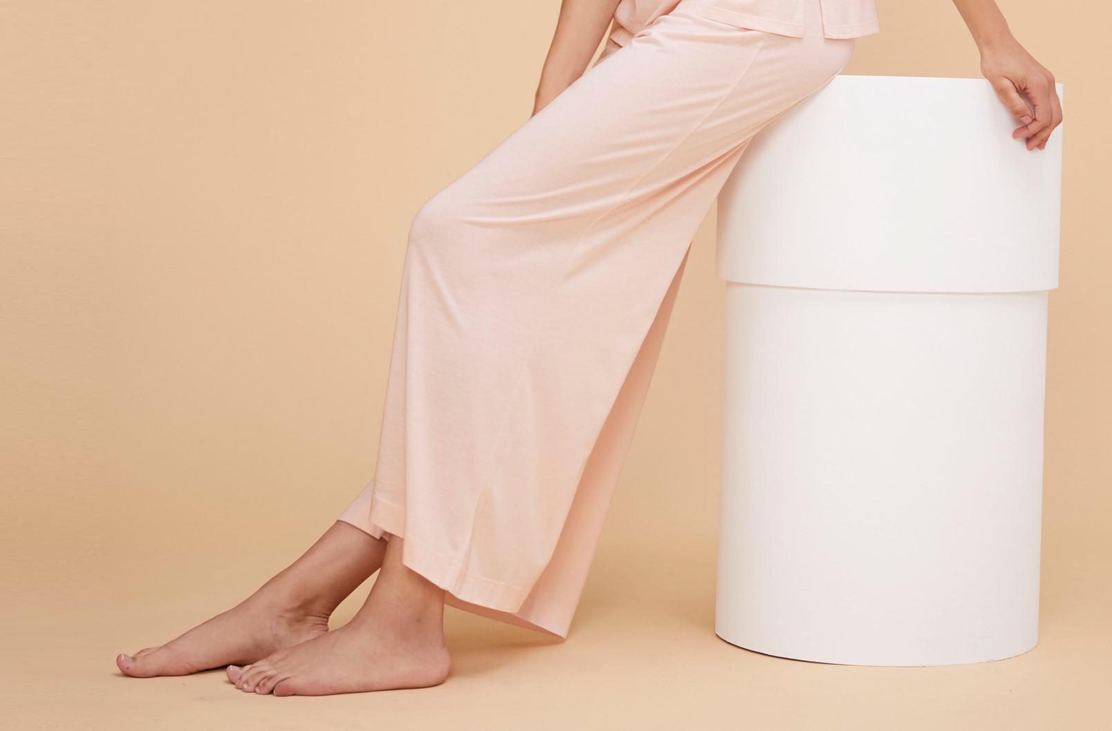 Model wearing Pima Wide-Leg Pant