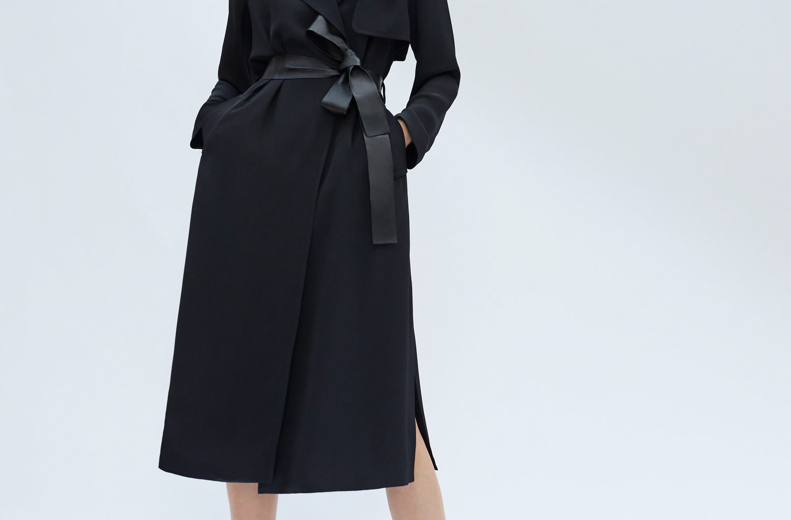 Image showing model wearing Silk Classic Trench