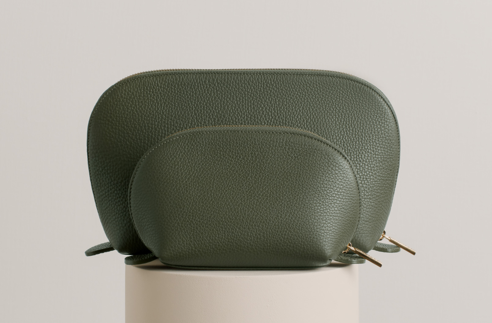 Cuyana Leather Travel Case Set In Olive