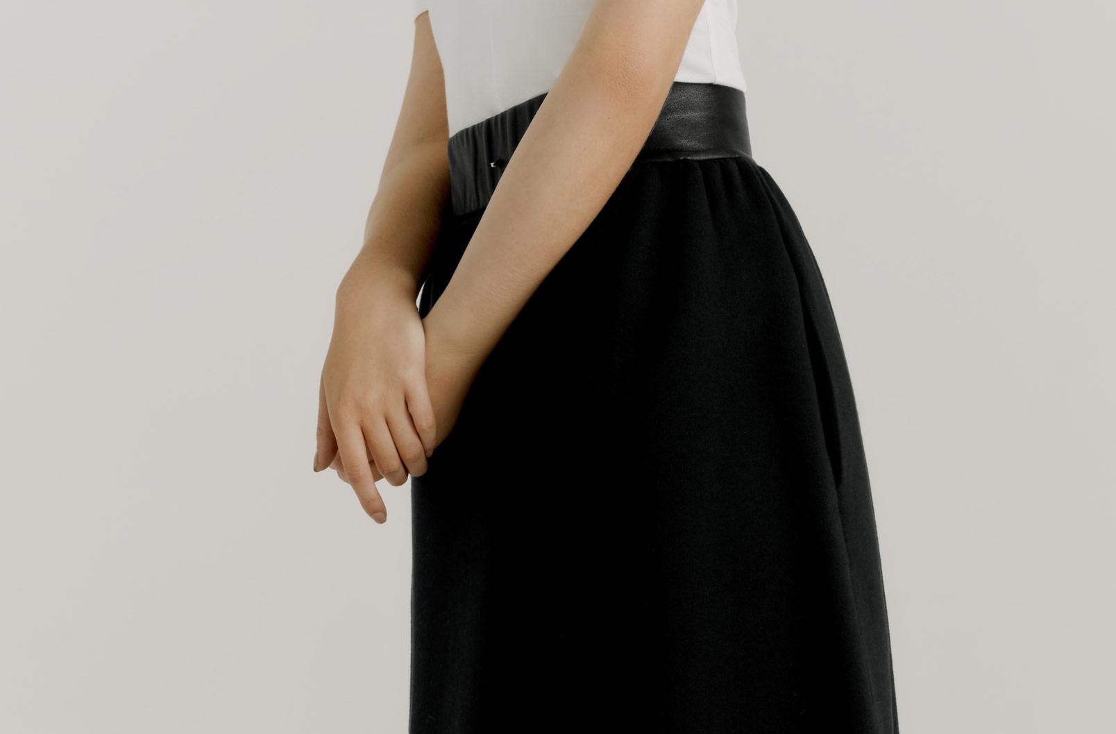 Rear shot of Fleece Midi Skirt showing lambskin waistband
